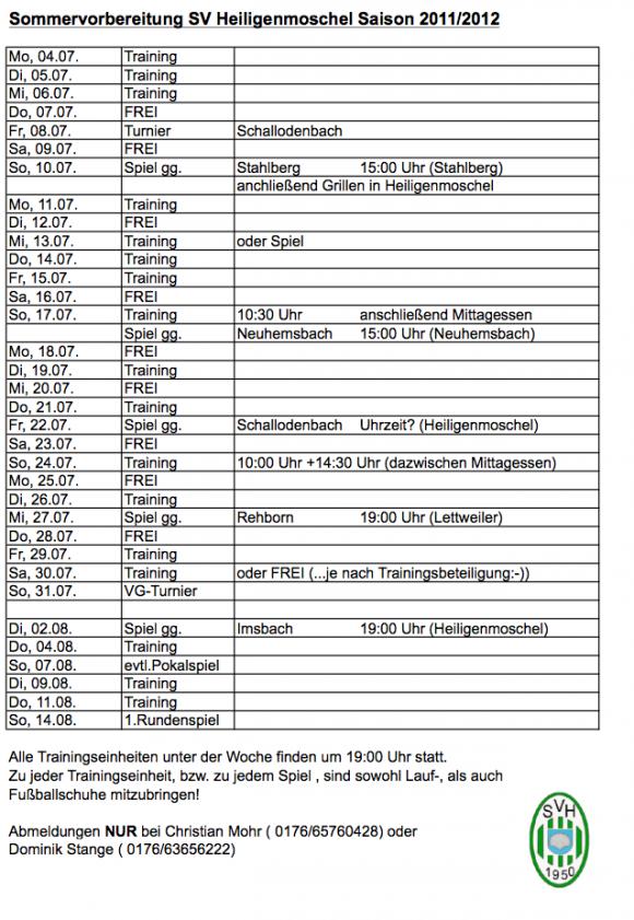 Sommervorbereitung SV Heiligenmoschel Saison 2011/2012