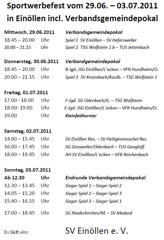 Spielplan Sportwerbefest 2011 SV Einöllen