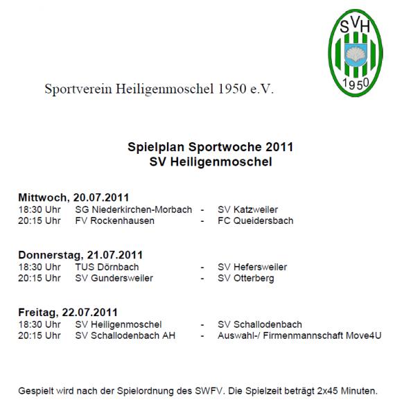 Sportwoche SVH Spielplan